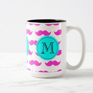 Hot Pink Mustache Pattern, Aqua Black Monogram Two-Tone Mug