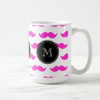 Hot Pink Mustache Pattern, Black White Monogram Basic White Mug