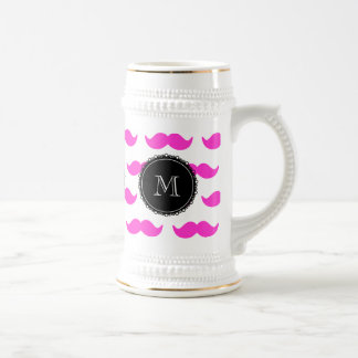Hot Pink Mustache Pattern, Black White Monogram Beer Steins
