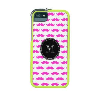 Hot Pink Mustache Pattern, Black White Monogram iPhone 5 Cases