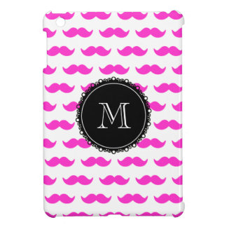 Hot Pink Mustache Pattern, Black White Monogram Cover For The iPad Mini