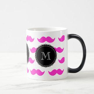 Hot Pink Mustache Pattern, Black White Monogram Mug
