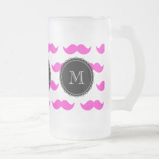 Hot Pink Mustache Pattern, Black White Monogram Frosted Glass Mug