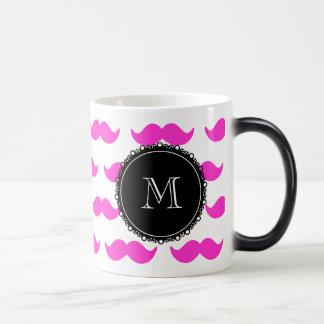 Hot Pink Mustache Pattern, Black White Monogram Coffee Mugs