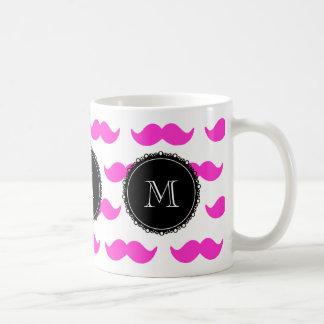 Hot Pink Mustache Pattern, Black White Monogram Coffee Mug