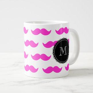 Hot Pink Mustache Pattern, Black White Monogram Extra Large Mug