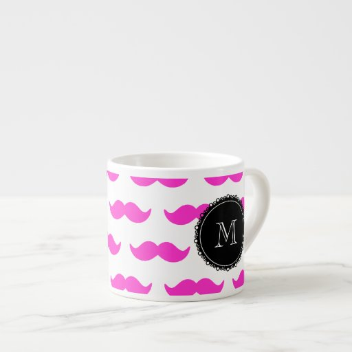 Hot Pink Mustache Pattern, Black White Monogram Espresso Mug