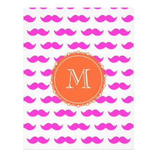 Hot Pink Mustache Pattern Coral White Monogram Flyer
