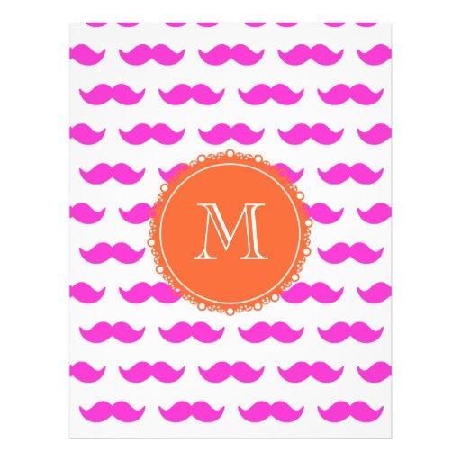 Hot Pink Mustache Pattern, Coral White Monogram Flyer