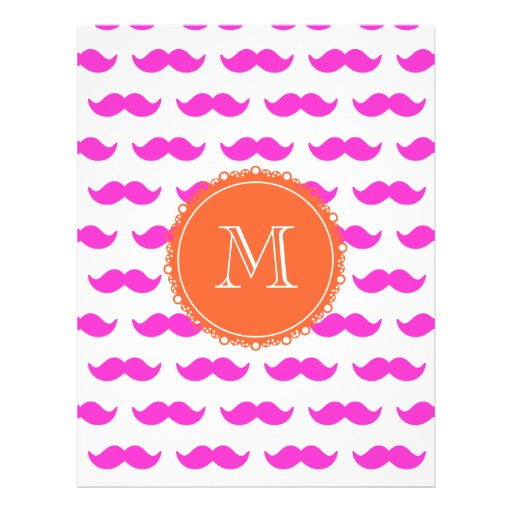 Hot Pink Mustache Pattern, Coral White Monogram Flyers