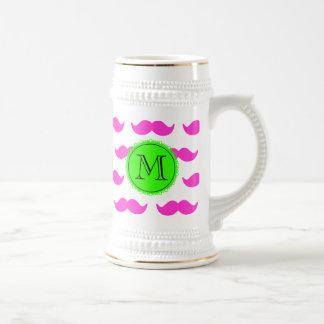 Hot Pink Mustache Pattern, Green Black Monogram Beer Steins