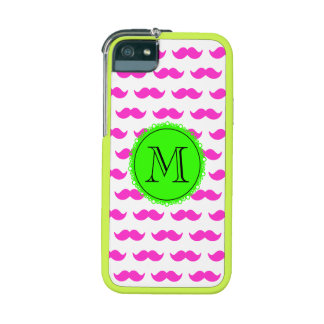 Hot Pink Mustache Pattern, Green Black Monogram iPhone 5/5S Cases