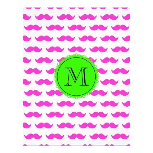 Hot Pink Mustache Pattern, Green Black Monogram Flyer