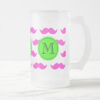 Hot Pink Mustache Pattern, Green Black Monogram Frosted Glass Mug