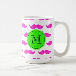 Hot Pink Mustache Pattern, Green Black Monogram Mugs