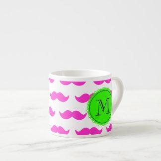 Hot Pink Mustache Pattern, Green Black Monogram Espresso Mug