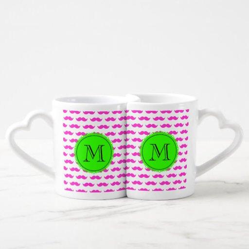 Hot Pink Mustache Pattern, Green Black Monogram Couple Mugs
