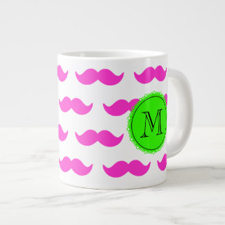 Hot Pink Mustache Pattern, Green Black Monogram Extra Large Mug