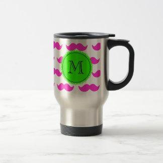 Hot Pink Mustache Pattern, Green Black Monogram Stainless Steel Travel Mug