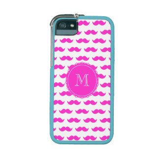 Hot Pink Mustache Pattern, Hot Pink White Monogram iPhone 5 Covers