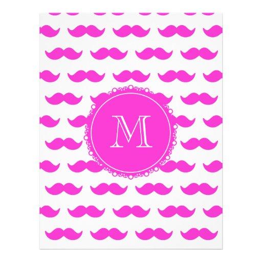 Hot Pink Mustache Pattern, Hot Pink White Monogram Flyer Design