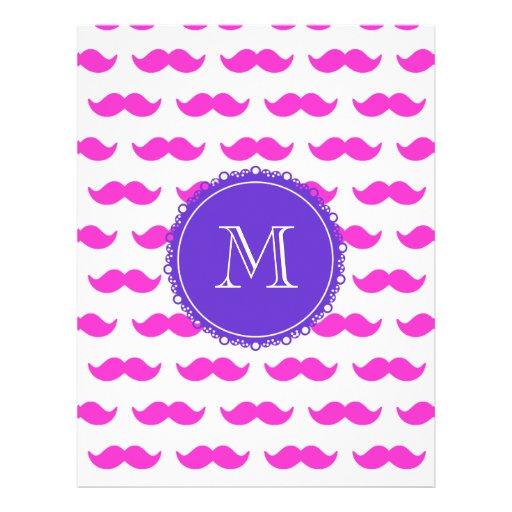 Hot Pink Mustache Pattern, Purple White Monogram Flyer