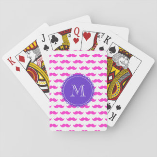 Hot Pink Mustache Pattern, Purple White Monogram Playing Cards