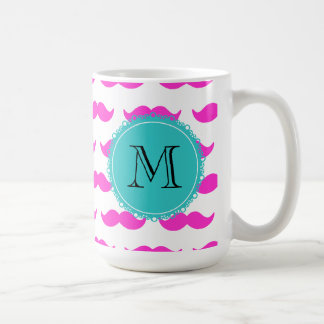 Hot Pink Mustache Pattern, Teal Black Monogram Basic White Mug