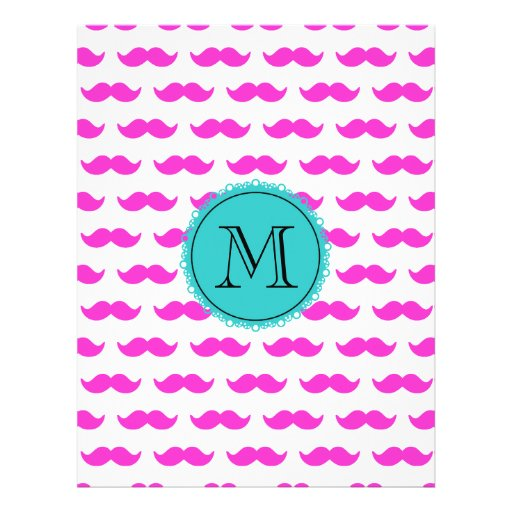 Hot Pink Mustache Pattern, Teal Black Monogram Flyers