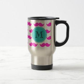 Hot Pink Mustache Pattern, Teal Black Monogram Stainless Steel Travel Mug