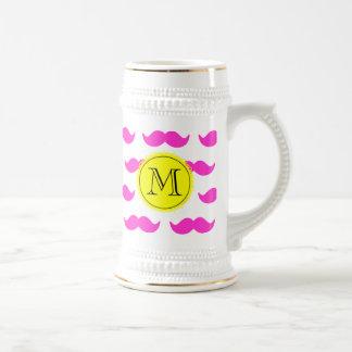 Hot Pink Mustache Pattern, Yellow Black Monogram Beer Steins
