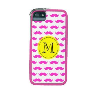 Hot Pink Mustache Pattern, Yellow Black Monogram iPhone 5 Covers