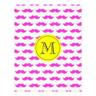 Hot Pink Mustache Pattern Yellow Black Monogram Flyer Design
