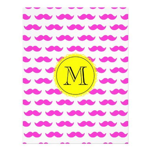 Hot Pink Mustache Pattern, Yellow Black Monogram Flyer Design