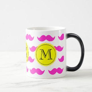 Hot Pink Mustache Pattern, Yellow Black Monogram Morphing Mug
