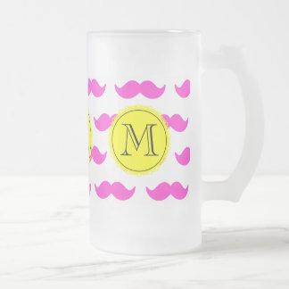Hot Pink Mustache Pattern, Yellow Black Monogram Frosted Glass Mug
