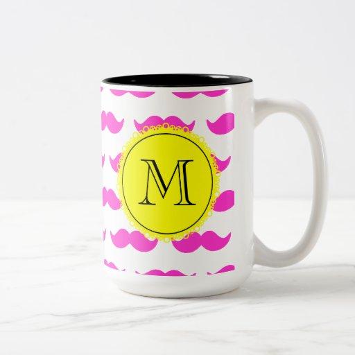 Hot Pink Mustache Pattern, Yellow Black Monogram Mugs