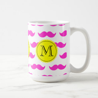 Hot Pink Mustache Pattern, Yellow Black Monogram Basic White Mug