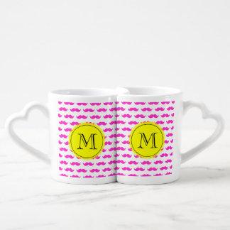Hot Pink Mustache Pattern, Yellow Black Monogram Couples Mug