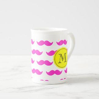 Hot Pink Mustache Pattern, Yellow Black Monogram Porcelain Mug