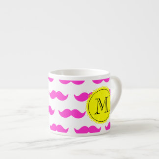 Hot Pink Mustache Pattern, Yellow Black Monogram Espresso Cups
