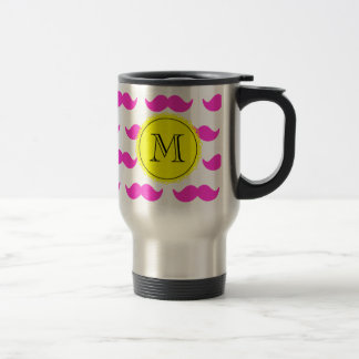 Hot Pink Mustache Pattern, Yellow Black Monogram Stainless Steel Travel Mug