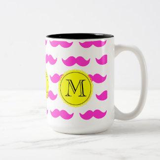 Hot Pink Mustache Pattern, Yellow Black Monogram Two-Tone Mug