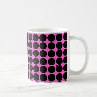 Hot Pink-n-Black Dots Basic White Mug