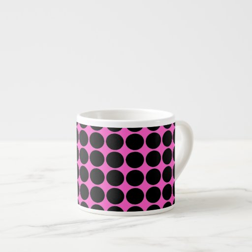 Hot Pink-n-Black Dots Espresso Cup
