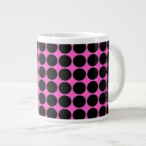 Hot Pink-n-Black Dots Extra Large Mugs