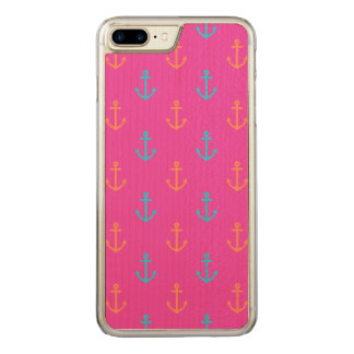 Hot Pink Nautical Anchor Pattern Carved iPhone 8 Plus/7 Plus Case
