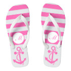 Hot Pink Nautical Anchor with Stripes and Monogram Flip Flops
