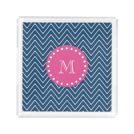 Hot Pink, Navy Blue Chevron | Your Monogram