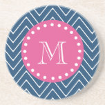 Hot Pink, Navy Blue Chevron | Your Monogram Coaster